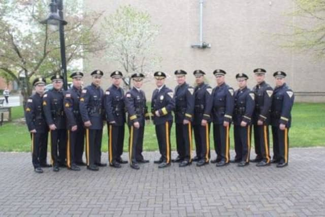 Several Lyndhurst Police Department promotions were made Monday during a ceremony at Town Hall Park.