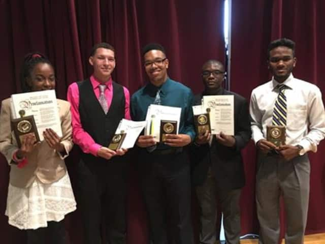 Peekskill students Faith Creighton, Devin Guardino, Jovanny Elliot, Joseph Muschette, Adrian McCalman and Briayanna Johnson (not pictured) were honored by Manhattanville College for their achievements.
