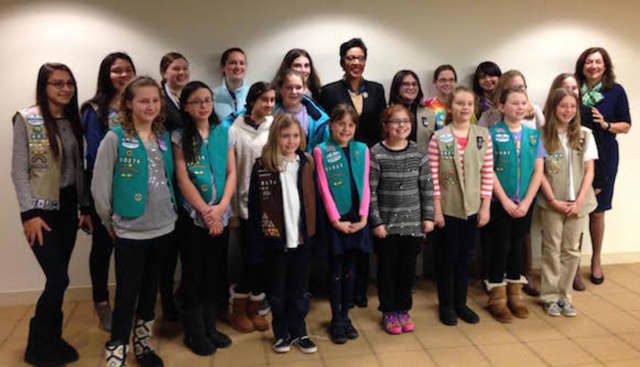 Girl Scouts of Connecticut meet with the national and Connecticut leaders at the Ferguson Library in Stamford.