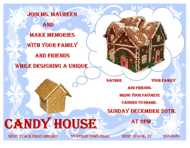 Design a house good enough to eat at West Nyack Free Library on Sunday.