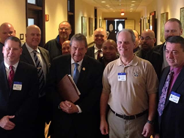 Cardinale with retired members of the FOP, PBA and RUPD who attended Monday's committee meeting in Trenton in support of S-1944.