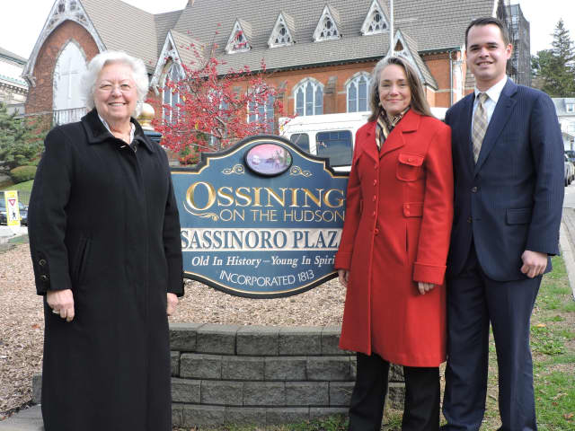 From left, state Assemblywoman Sandy Galef, D-Ossining; Ossining Mayor Victoria Gearity; and state Sen. David Carlucci announced the official dissolution of the village's Urban Renewal Agency.