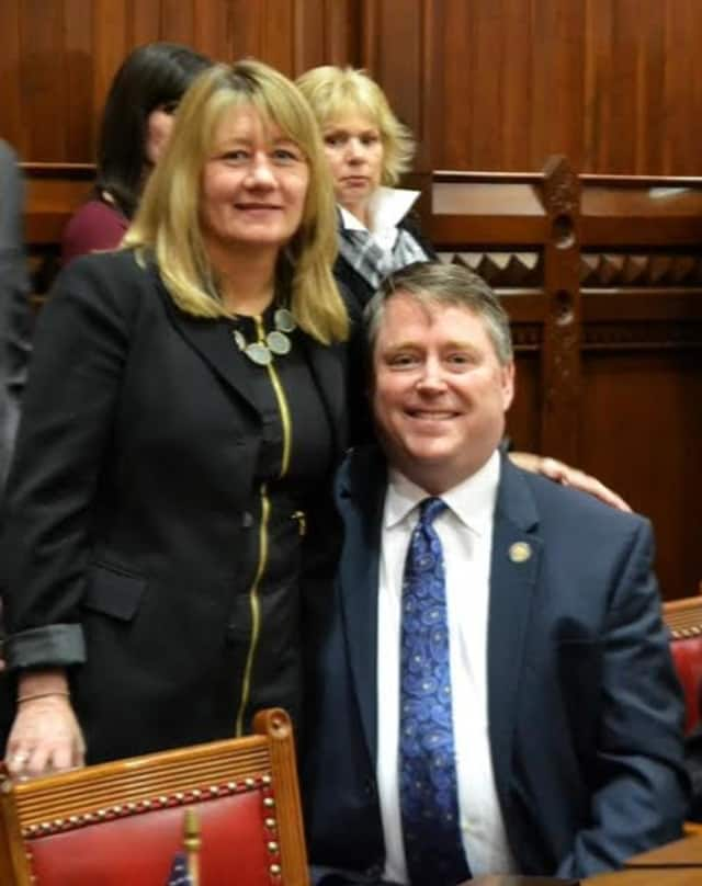 Rep. Dan Carter celebrates Opening Day with fiancé, Jane, in the House Chamber.