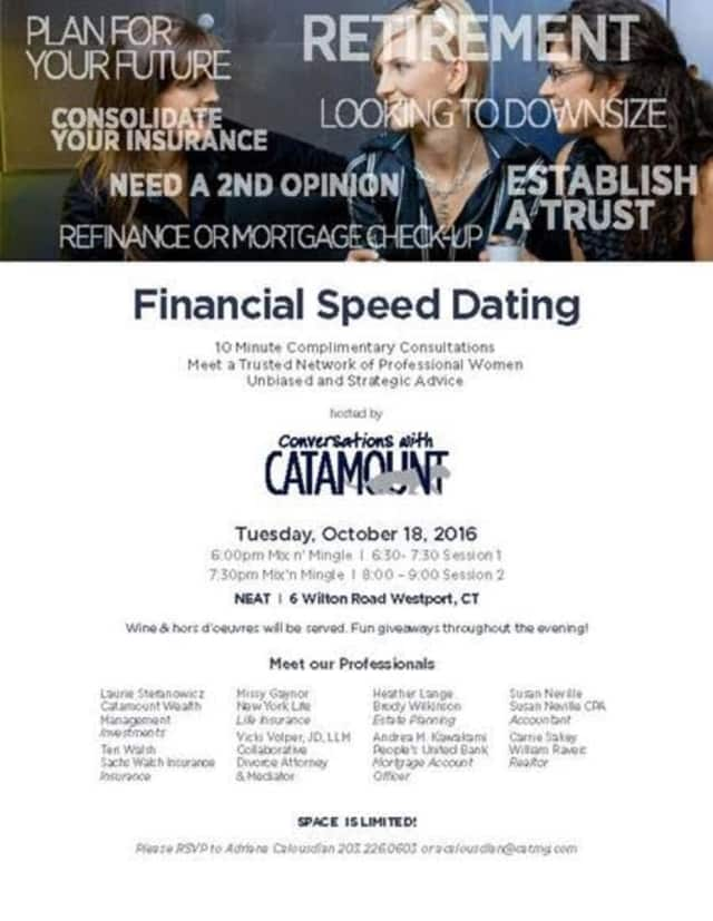 """Catamount Wealth Management will host a """"Financial Speed Dating"""" event on Tuesday, Oct. 18, in Westport."""