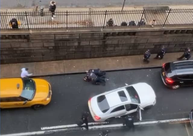 Port Authority police seize the driver outside the Holland Tunnel in Manhattan.