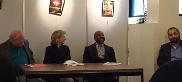 From Left to Right: Cortlandt attorney Anthony Giordano, NYS Assemblywoman Shelley Mayer, New Rochelle Councilman Jared Rice & Cortlandt Democratic Commitee Secretary Brian Pugh take part in Law Day.