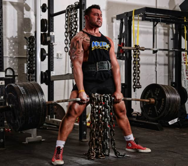 Chris Della Fave dead-lifts nearly 500 pounds at his Bergen County Barbell gym on Broadway.