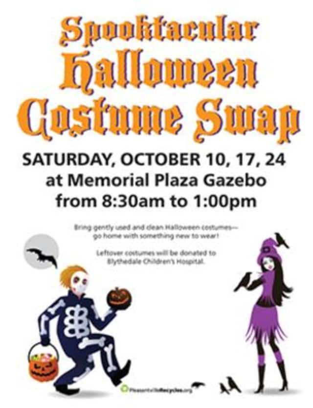 PleasantvilleRecycles' Halloween Costume Swap will take place on three consecutive Saturdays: October 10, 17, 24 at Memorial Plaza Gazebo in Pleasantville