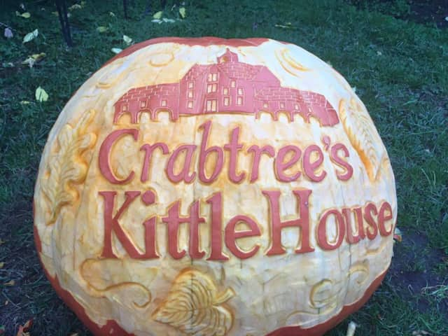 Jessica Manfro whose been featured on NBCs Dateline carved this pumpkin at Crabtree's Kittle House in Chappaqua.