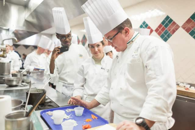 Howie Velie, far right, Associate Dean, Culinary Specializations at Hyde Park's Culinary Institute of America.