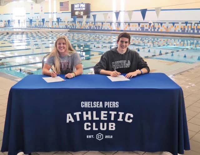Kelly Cattano from Darien and Patrick Clisham from Greenwich, who swim at Chelsea Piers Connecticut in Stamford, will swim in college at Bucknell and Loyola, respectively.