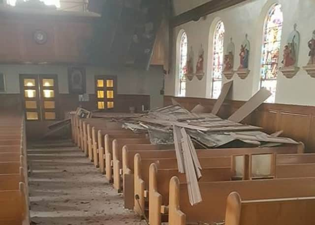 The ceiling collapsed at at St. Anthony of Padua Church in Passaic.
