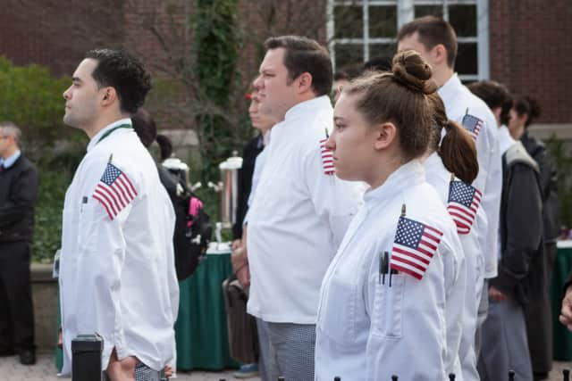 Students at The Culinary Institute of America pause to reflect on Veterans Day 2014.