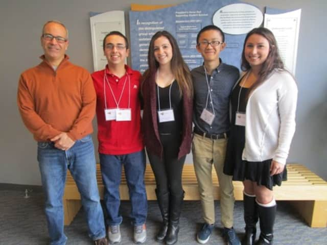 Clarkstown North High School students Eden Nebel, Kathryn Belkin, Skye Maisel and Brian Huang participated in the Rockland County Local History Conference at RCC.