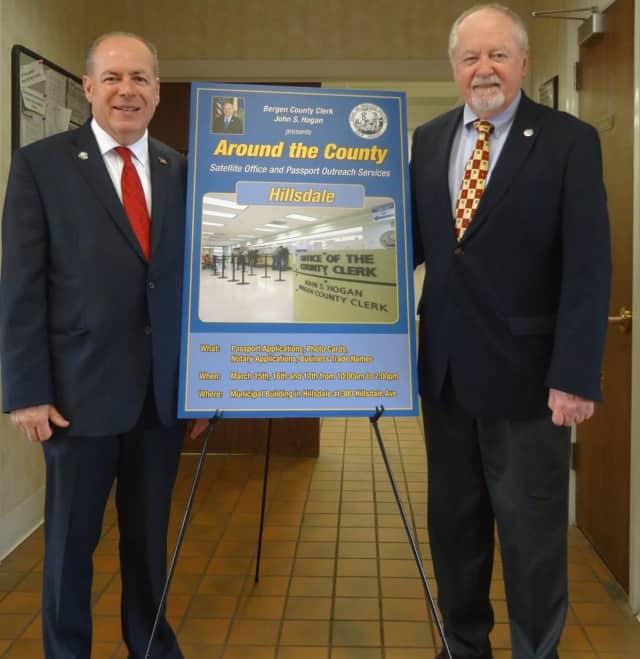 Bergen County Clerk John Hogan and Hillsdale Mayor Doug Frank