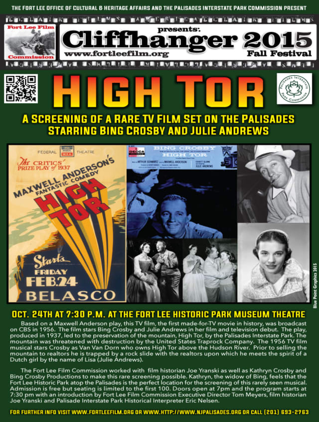 "The rare film ""High Tor"" will be shown Oct. 24 at the Fort Lee Historic Park Museum Theatre."