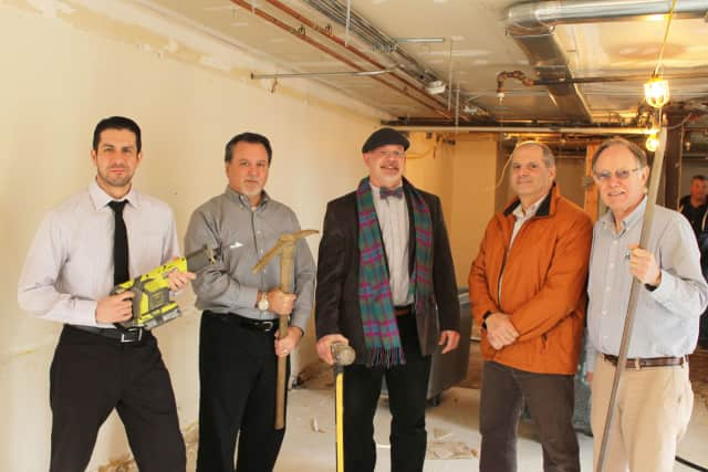Thomas Diaz, manager of Family Centers Healthcare at Wilbur Peck Court; Dennis Torres, director of Healthcare Programs; Charles Edward McDonald, architect; Joseph Parlanti of Pecora Brothers; Robert Short, Family Centers' vice president