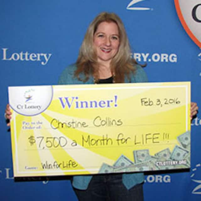 Christine Collins, of Stamford, won $7,500 a month in the Lucky for Life game from the Connecticut Lottery.