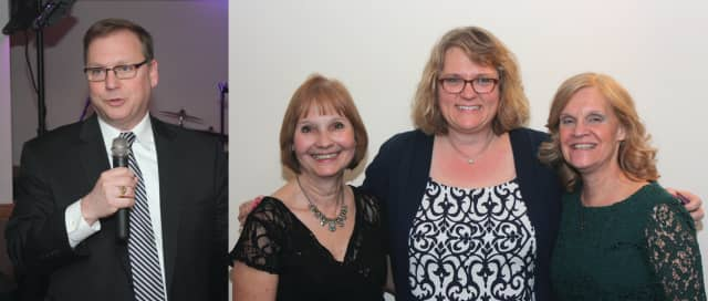 "Stratford Mayor John A. Harkins (left) and Library Benefit committee members Doreen Jaekle, Sheri Szymanski and Robyn Proto at the ""Let the Good Times Roll"" gala fundraiser for the Stratford Library. Nearly $15,000 was raised."
