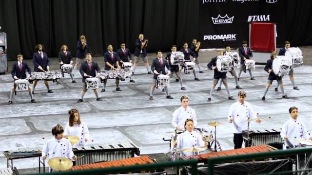 """The Fair Lawn Indoor Percussion team performing its show """"Man or Monster?"""" in Dayton, Ohio"""