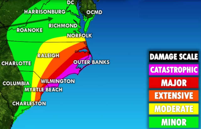 The arrow points to the area of greatest flooding concerns.