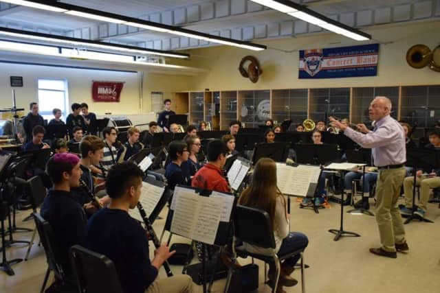 Curt Ebersole conducts a band workshop with Briarcliff students.