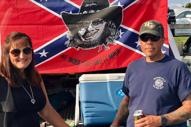 NJ Assemblyman Parker Space and his wife with a Confederate flag and the superimposed face of country singer Hank Williams Jr.