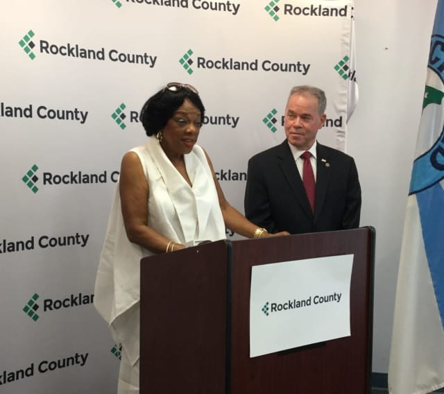 Constance L. Frazier of Montebello, a retired school administrator and now Rockland's new Commissioner on Human Rights, with County Executive Ed Day.