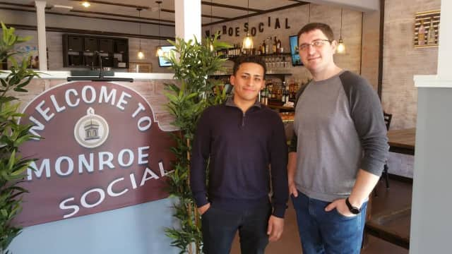 Constantin Crama, right, and Douglas Barrientos are the owners of Monroe Social, which opened in February.