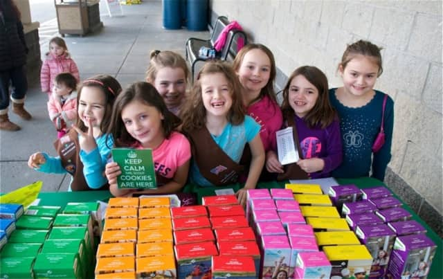 Brownies sold Girl Scout cookies to Hopewell Junction shoppers on March 11.