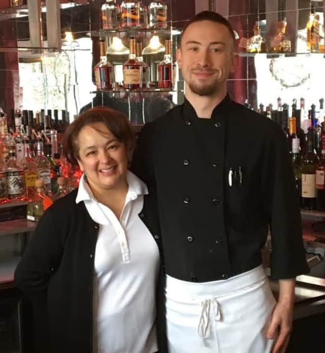 Sandra Parra-Flores, left, with Executive Chef Luke Charof, owns Copas Restaurant in Bethel with her husband, Carlos. The restaurant celebrates its one-year anniversary in January.