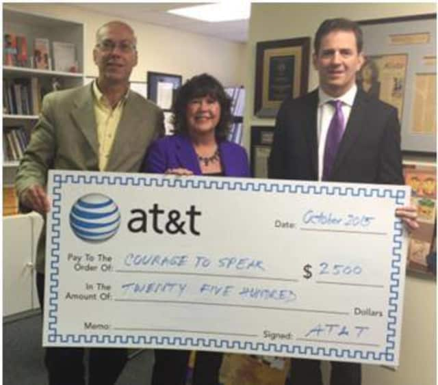 Harry Carey, director of external affairs of AT&T Connecticut, Ginger Katz (CEO/founder of the Courage to Speak Foundation and state Rep. Christopher Perone.