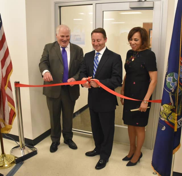 From left, Administrative Judge for the 9th Judicial District Justice Alan D. Scheinkman; Westchester County Executive Robert P. Astorino and Family Court Supervising Judge Kathie E. Davidson at the Yonkers Family Court ribbon cutting.