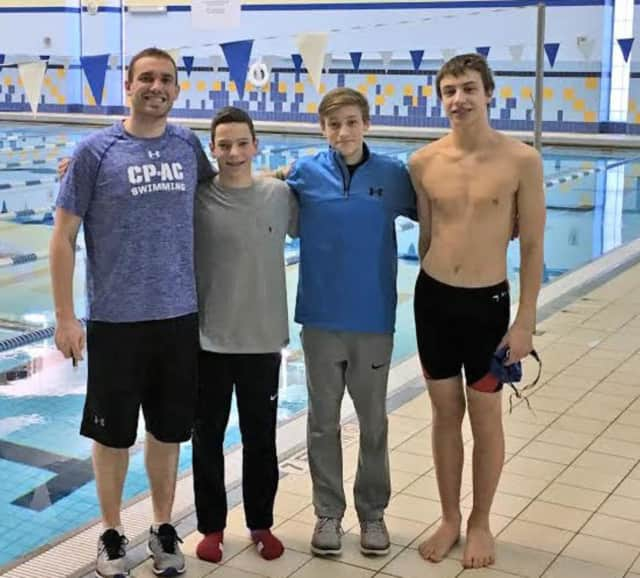 Chelsea Piers Connecticut swimmers (left to right) Brenan Morris, Tyler Sicignano, Nicholas Malchow, and Jacob Sherman set a state record in a relay at a recent state championship meet.