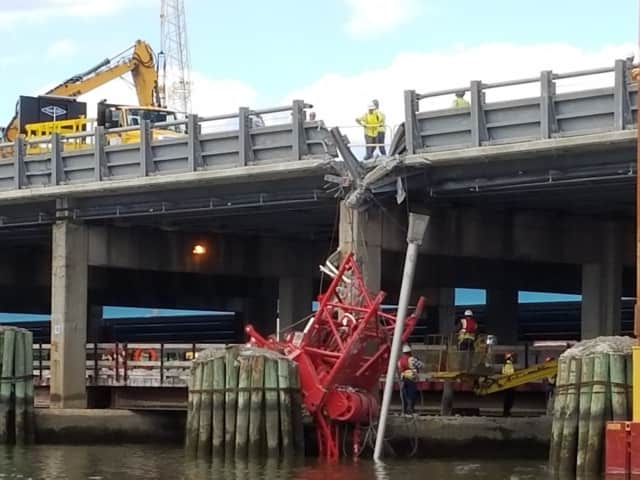 A construction crane collapsed across all lanes on the new Tappan Zee Bridge last July, injuring several people, but, miraculously, killing no one. The bridge's builders have been fined $12,000 for, OSHA said, maintaining an unsafe work site.