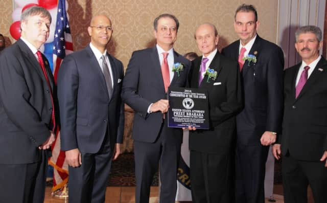 Kieron O'Leary, WCCS, Derickson K. Lawrence, WCCS Chair; U.S. Attorney Preet Bharara; honoree, Reginald Ward, Honoree Comm. George Longworth, WCCS Chief Mike Cerone.