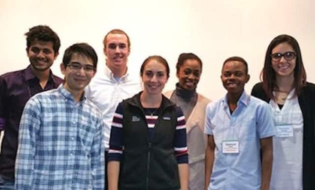 Giovana Soares, far right, with her winning team at the recent Connecticut Start-up Weekend. Other team members were: Reynold Dmello, Oyindamola Ogunjobi, Desmond Ntseh, Michael Xu, Chris Lut, and Janine Tougas.