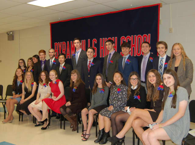 These are the twenty-three seniors inducted this week into the Byram Hills High School chapter of the Cum Laude Society for their academic achievements