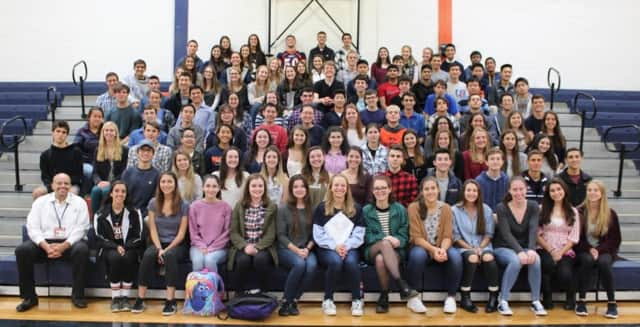 These seniors at Horace Greeley High School were inducted into the Cum Laude Society