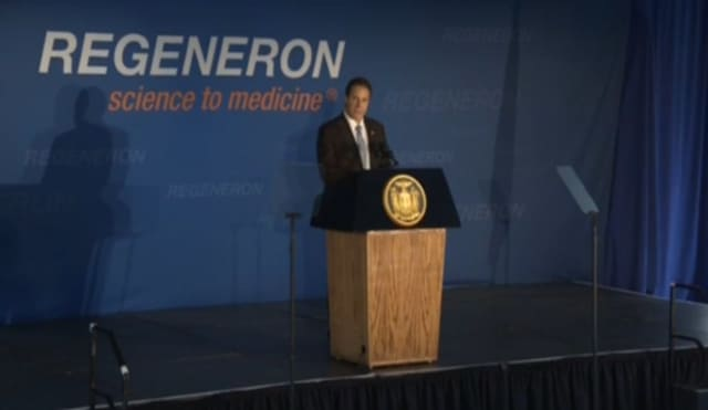 Gov. Cuomo at the grand opening of two new buildings at the Regeneron Pharmaceuticals campus in Tarrytown on Thursday.