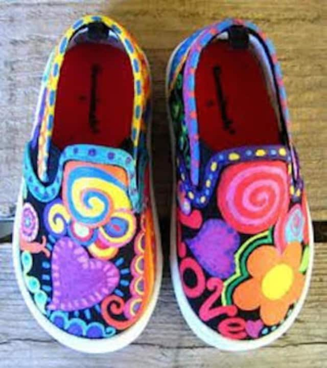 Kids can paint their own sneakers at a workshop at the Darien Arts Center on Saturday, March 18.