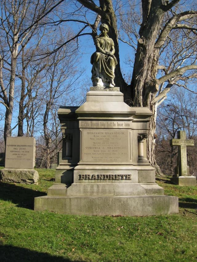 "Grave memorial of Benjamin Brandreth (1807-1880) at the Dale Cemetery in Ossining, N.Y. The Ossining Historic Cemeteries Conservancy will present the annual ""Picnic and Music"" event at the cemetery June 5."