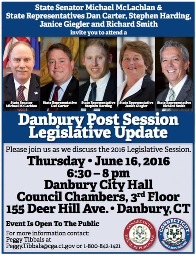A post session legislative update meeting is set for Thursday, June 16 at Danbury City Hall.