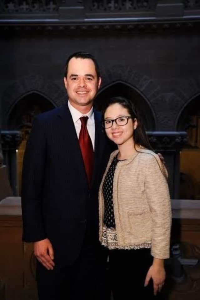 State Sen. David Carlucci and Lauren Shields, the Stony Point resident and heart transplant recipient after whom Lauren's Law is named.