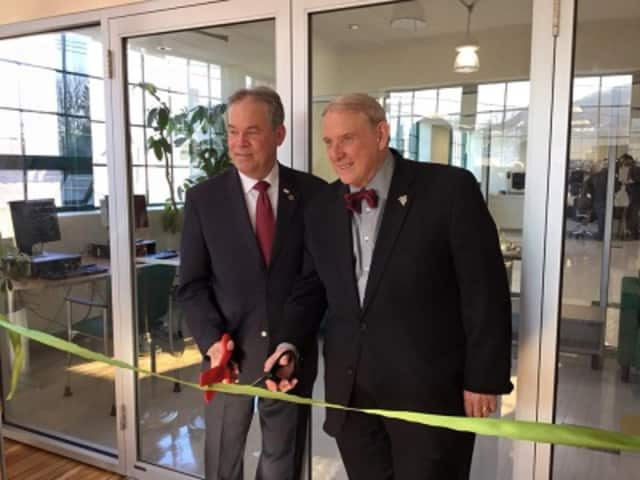Rockland County Executive Ed Day, left, and Cliff Wood, president of Rockland Community College, cut the ribbon on the new career center in Haverstraw.