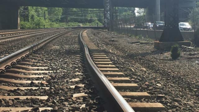 A section of the track in Rye that may have led to a train derailment.