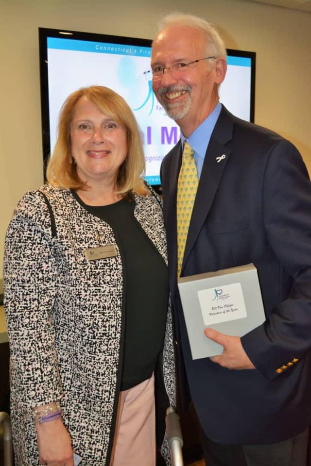 Bridgeport resident Bill Van Ollefen, who was recently named CFJ's Volunteer of the Year, with CEO Debra Greenwood.