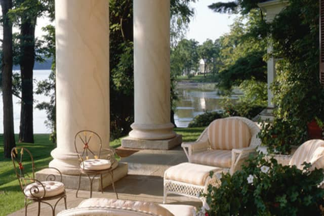 Front portico of Edgewater (ca. 1825), overlooking the Hudson River near Barrytown in Dutchess County. Courtesy of Classical American Homes Preservation Trust.