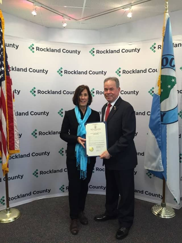 Denise Hogan received a proclamation from Rockland County Executive Ed Day.