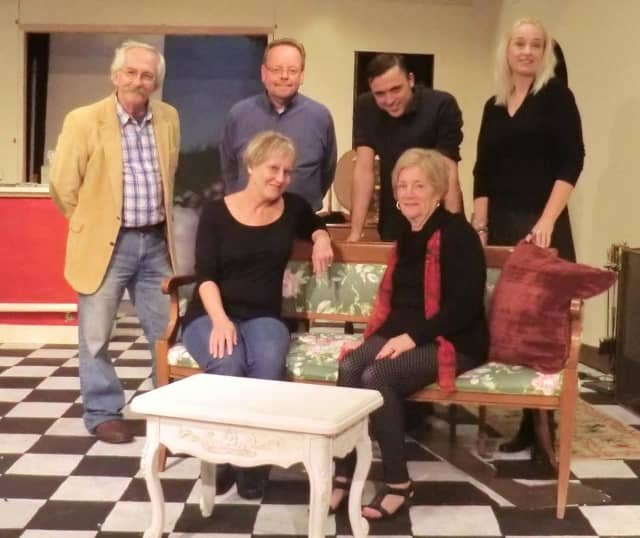 "Pictured cast members Laurel Lettieri, Elaine Reidy, Ron Malyszka, Stephen Ross, Bryn Berg and John Stevan rehearse for ""Design for Murder."""